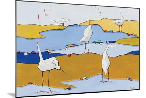 Marsh Egrets VI Dark Sand-Phyllis Adams-Mounted Art Print