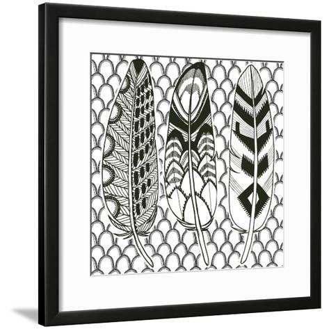 Geo Feathers III Zentangle-Sara Zieve Miller-Framed Art Print
