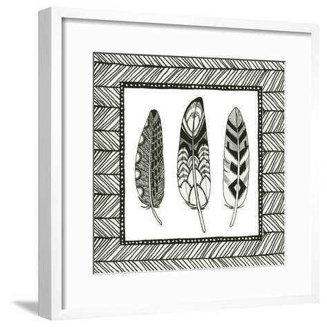 Geo Feathers Square III-Sara Zieve Miller-Framed Art Print