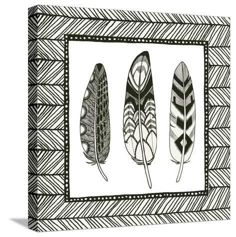 Geo Feathers Square III-Sara Zieve Miller-Stretched Canvas Print