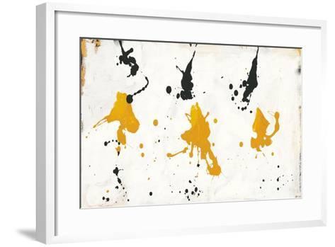 Abstract Background V Gold and Black-Roque Silva-Framed Art Print