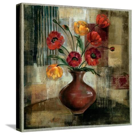 Poppies in a Copper Vase I-Silvia Vassileva-Stretched Canvas Print