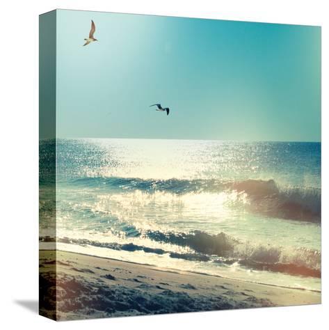 Coastline Waves no Word-Sue Schlabach-Stretched Canvas Print