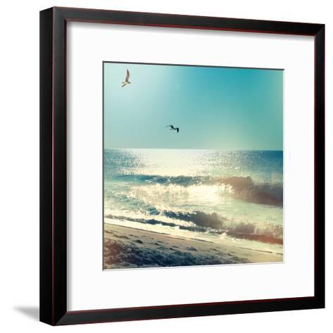 Coastline Waves no Word-Sue Schlabach-Framed Art Print
