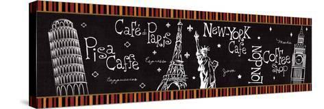 At the Cafe V-Veronique Charron-Stretched Canvas Print