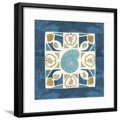 Undersea Blue Tile IV-Veronique Charron-Framed Art Print