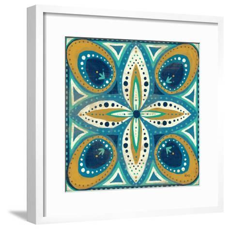 Proud as a Peacock Tile II-Veronique Charron-Framed Art Print