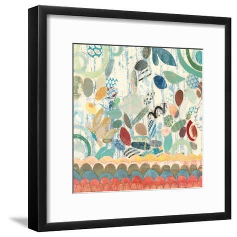 Raining Flowers with Border Square II-Candra Boggs-Framed Art Print