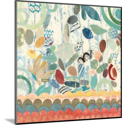 Raining Flowers with Border Square II-Candra Boggs-Mounted Art Print