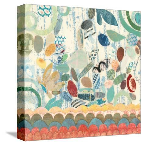 Raining Flowers with Border Square II-Candra Boggs-Stretched Canvas Print