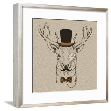 Deer with Hat--Framed Art Print
