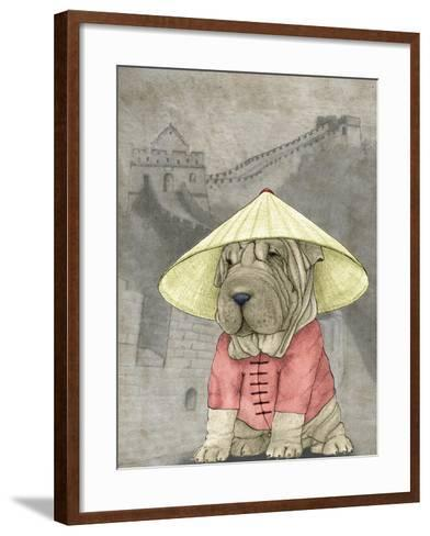 Shar Pei with the Great Wall-Barruf-Framed Art Print