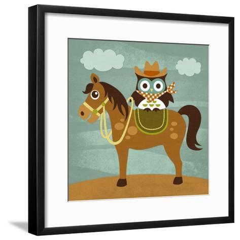 Cowboy Owl on Horse-Nancy Lee-Framed Art Print