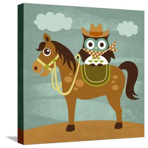Cowboy Owl on Horse-Nancy Lee-Stretched Canvas Print