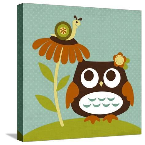 Owl Looking at Snail-Nancy Lee-Stretched Canvas Print