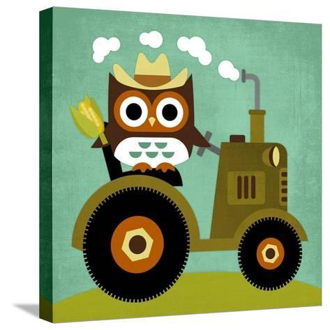 Owl on Tractor-Nancy Lee-Stretched Canvas Print