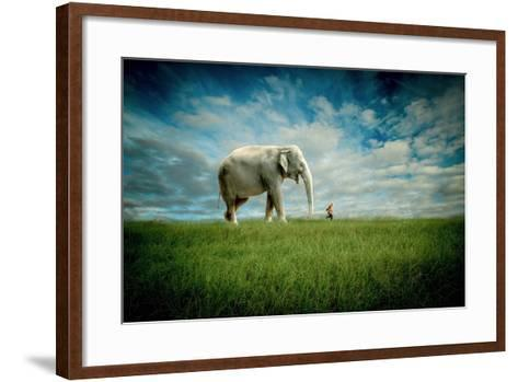Elephant Follow Me-Jeff Madison-Framed Art Print