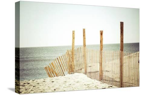 Wooden Beach Fence-Jessica Reiss-Stretched Canvas Print