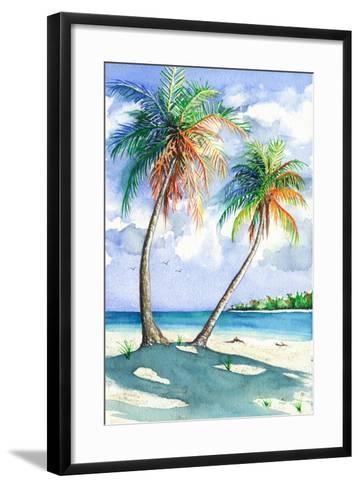 Palm Shadows-Christine Reichow-Framed Art Print