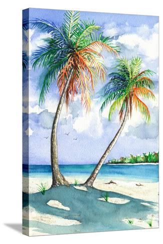 Palm Shadows-Christine Reichow-Stretched Canvas Print