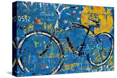 Blue Graffiti Bike-Daryl Thetford-Stretched Canvas Print