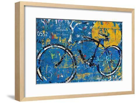 Blue Graffiti Bike-Daryl Thetford-Framed Art Print