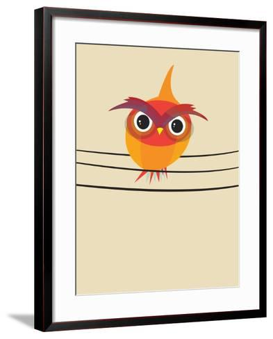 Owl on a Wire-Volkan Dalyan-Framed Art Print