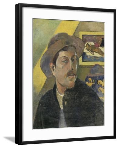 Self Portrait with a Hat-Paul Gauguin-Framed Art Print