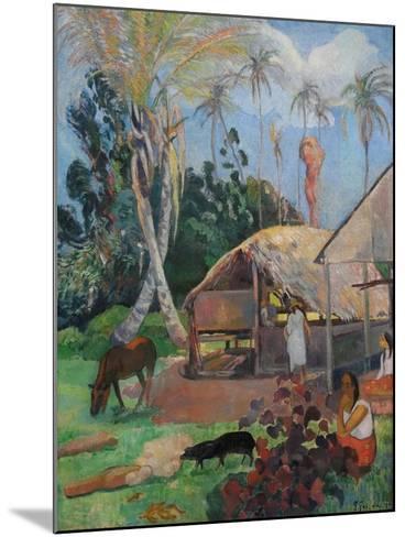 The Black Pigs-Paul Gauguin-Mounted Art Print
