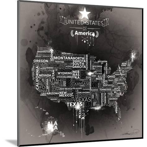 USA Map EBONY-Mikael B.-Mounted Art Print
