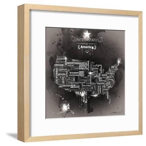 USA Map EBONY-Mikael B.-Framed Art Print