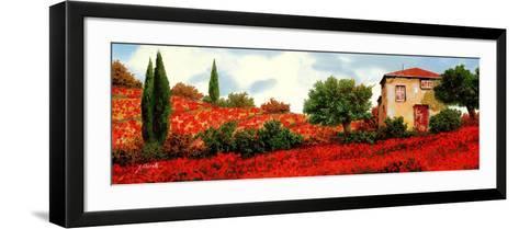 I Papaveri Sulle Colline-Guido Borelli-Framed Art Print