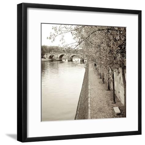 Sepia-Promenade Seine #2-Alan Blaustein-Framed Art Print