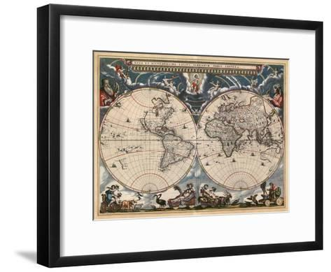 Nova et Accuratissima Totius Terrarum Orbis Tabula-Joan Blaeu-Framed Art Print