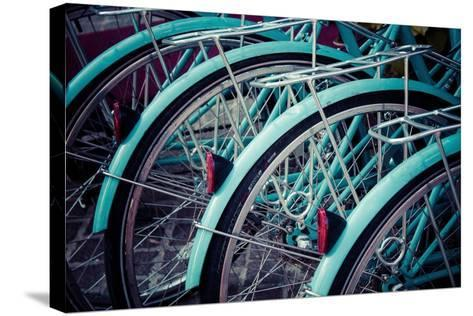 Bicycle Line Up 2-Jessica Reiss-Stretched Canvas Print