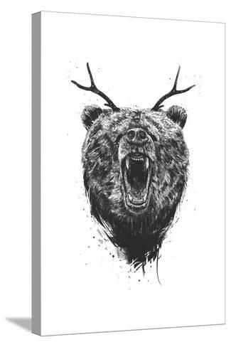 Angry Bear With Antlers-Balazs Solti-Stretched Canvas Print