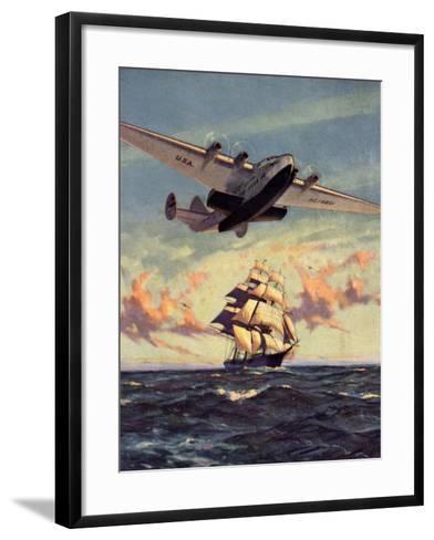 Painting og a Plane Flying near a Ship--Framed Art Print