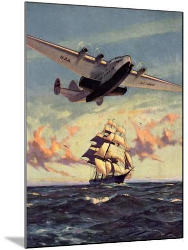 Painting og a Plane Flying near a Ship--Mounted Art Print