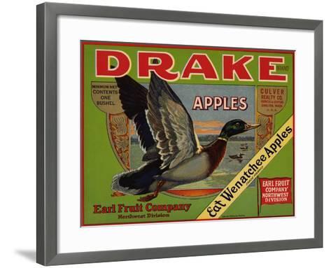 Fruit Crate Labels: Drake Brand Apples; Earl Fruit Company--Framed Art Print