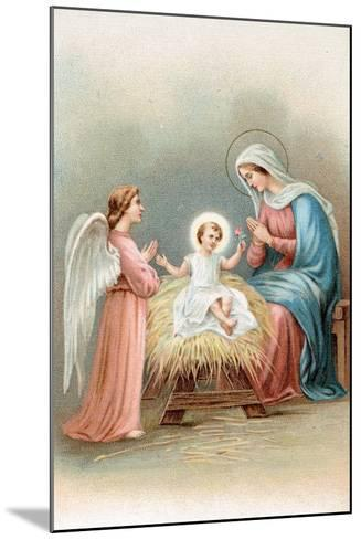 Greeting Cards, Holiday Madonna and Child with Angel--Mounted Art Print