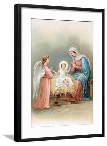 Greeting Cards, Holiday Madonna and Child with Angel--Framed Art Print