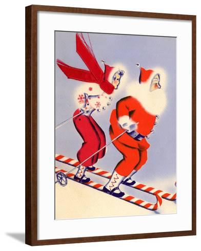 Santa and Woman Together on Candy Cane Skis, National Museum of American History, Archives Center--Framed Art Print