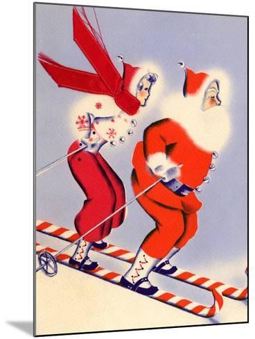 Santa and Woman Together on Candy Cane Skis, National Museum of American History, Archives Center--Mounted Art Print