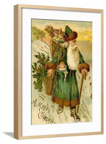 Father Christmas Dressed in Green Carrying Baskets of Toys and Holly, Beatrice Litzinger Collection--Framed Art Print