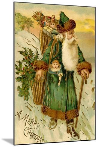 Father Christmas Dressed in Green Carrying Baskets of Toys and Holly, Beatrice Litzinger Collection--Mounted Art Print