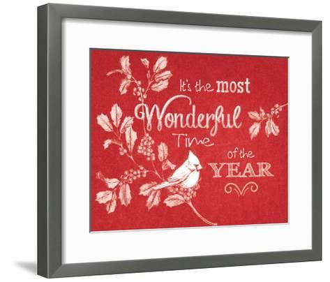 Chalkboard Christmas Sayings VI on red-Beth Grove-Framed Art Print