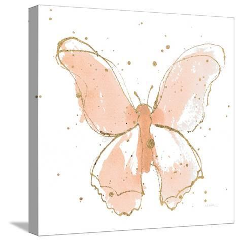 Gilded Butterflies II Blush-Shirley Novak-Stretched Canvas Print