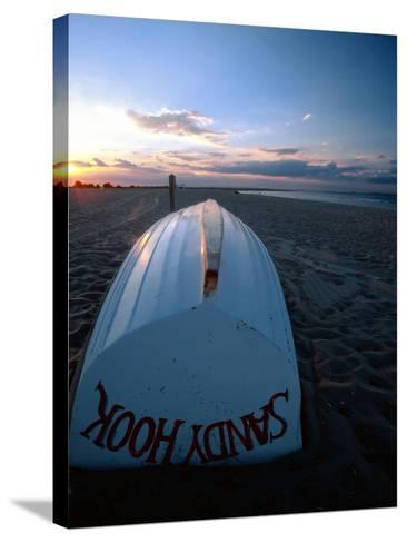 Boat on Sandy Hook Beach, New Jersey-George Oze-Stretched Canvas Print