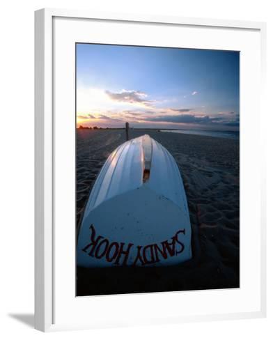 Boat on Sandy Hook Beach, New Jersey-George Oze-Framed Art Print