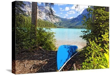 Boat on the Shore, Emerald Lake, Canada-George Oze-Stretched Canvas Print